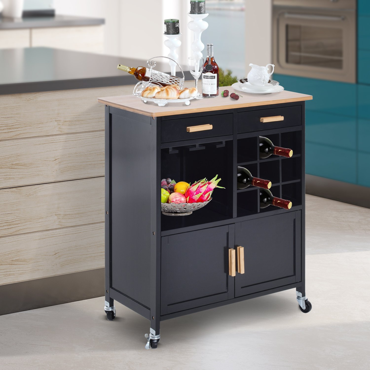 Homcom Kitchen Rolling Cart With Drawers Island Bamboo Top Serving Utility Cabinet Portable Kitchen Island Kitchen Cart Aosom Canada