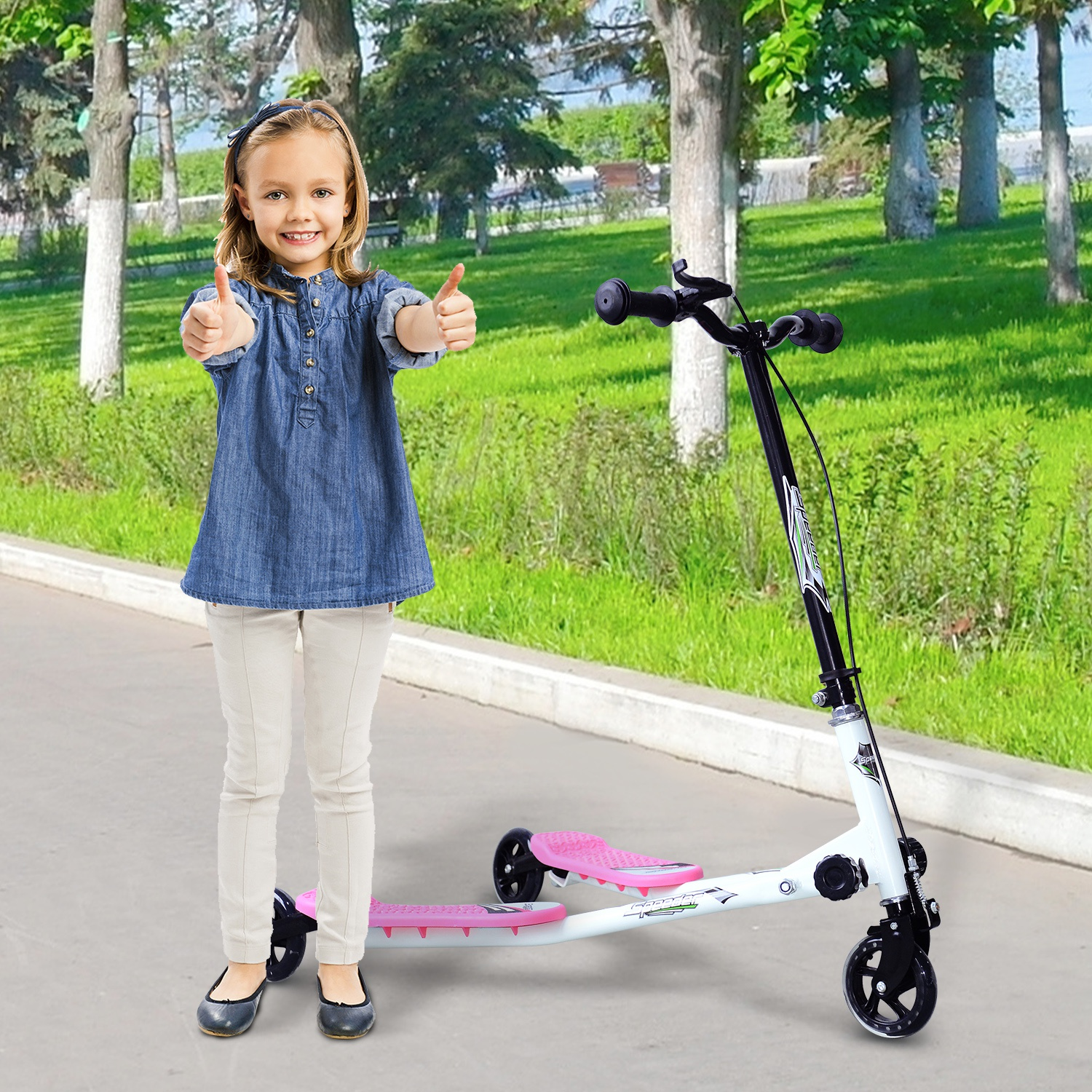 Soozier HOMCOM Foldable Children Tri Scooter 3 Wheels Speeder Slider Winged Push Motion Pink