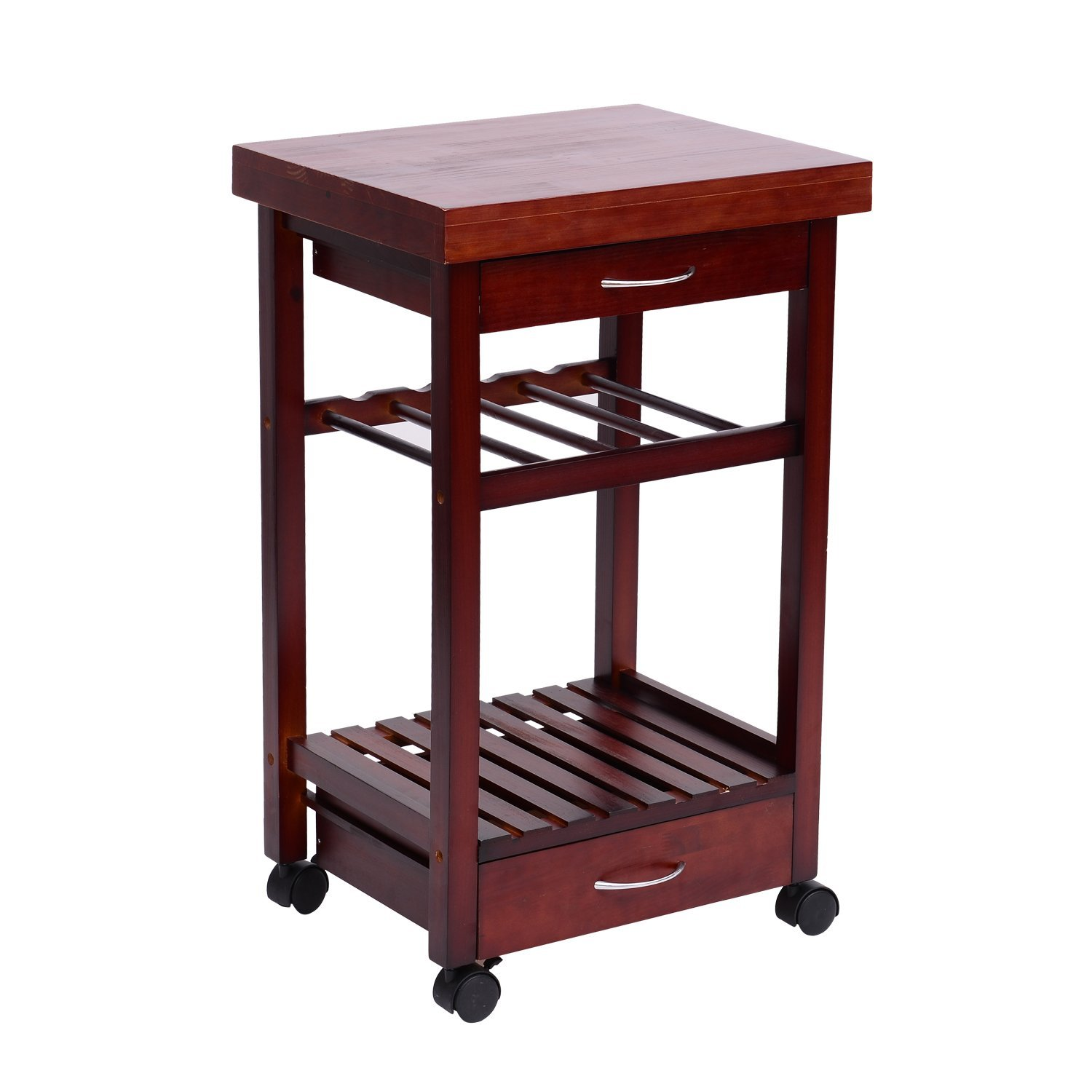 Homcom 32 Wooden Storage Rolling Kitchen Cart Trolley With Drawers And Wine Rack Kitchen Islands Aosom