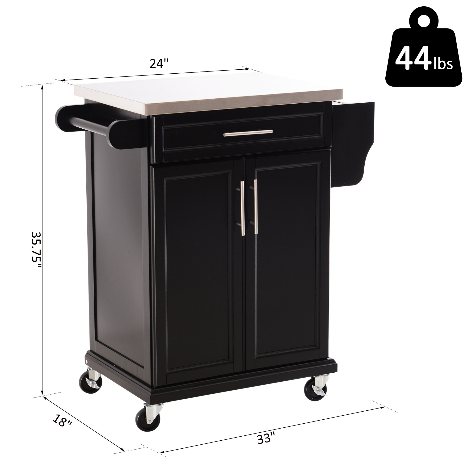 Homcom Movable Kitchen Island Wood Stainless Steel