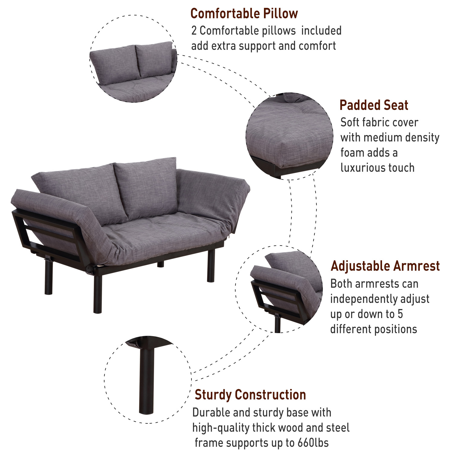 HomCom Single Person 3 Position Convertible Couch