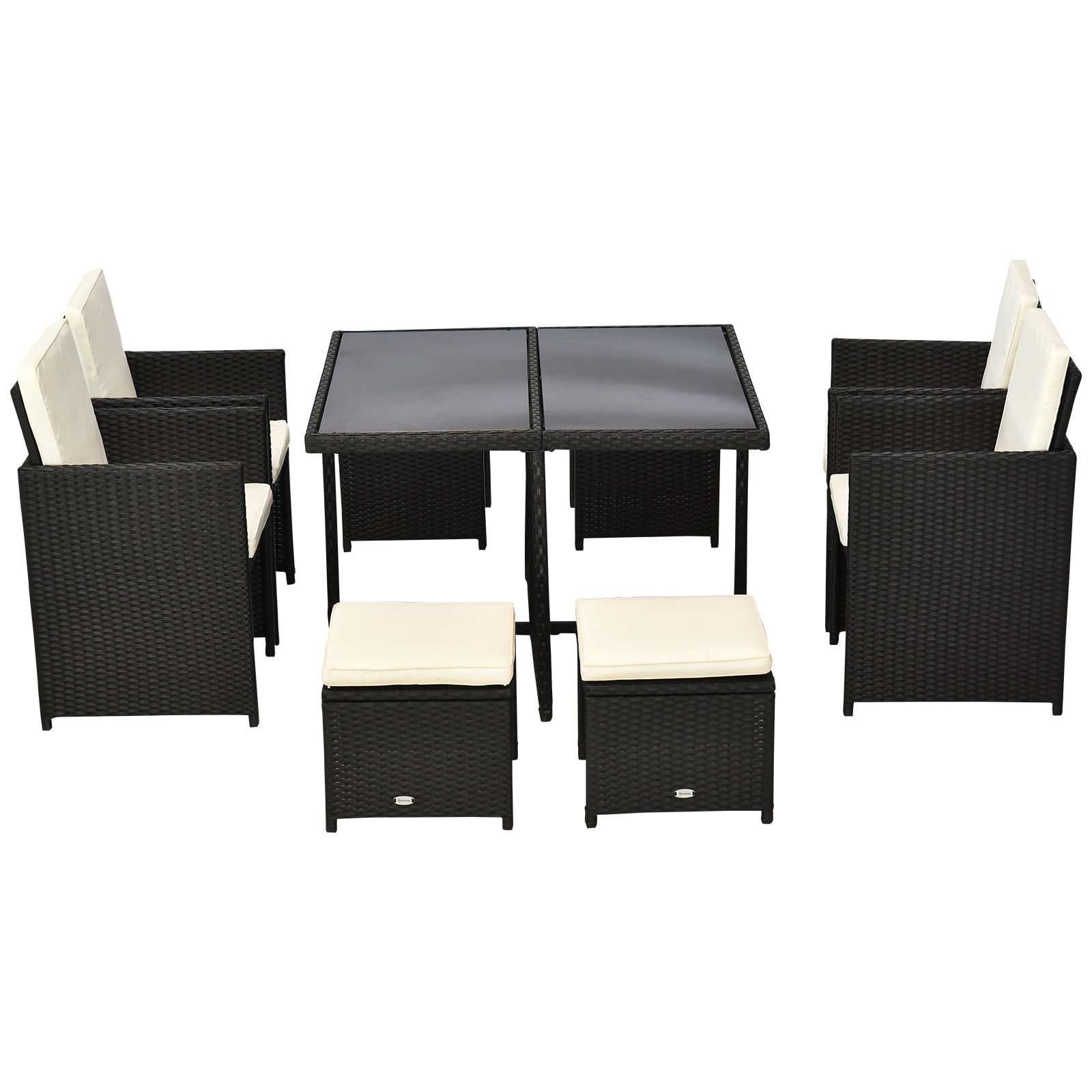 Outsunny 9 pc Outdoor Rattan Wicker Dining