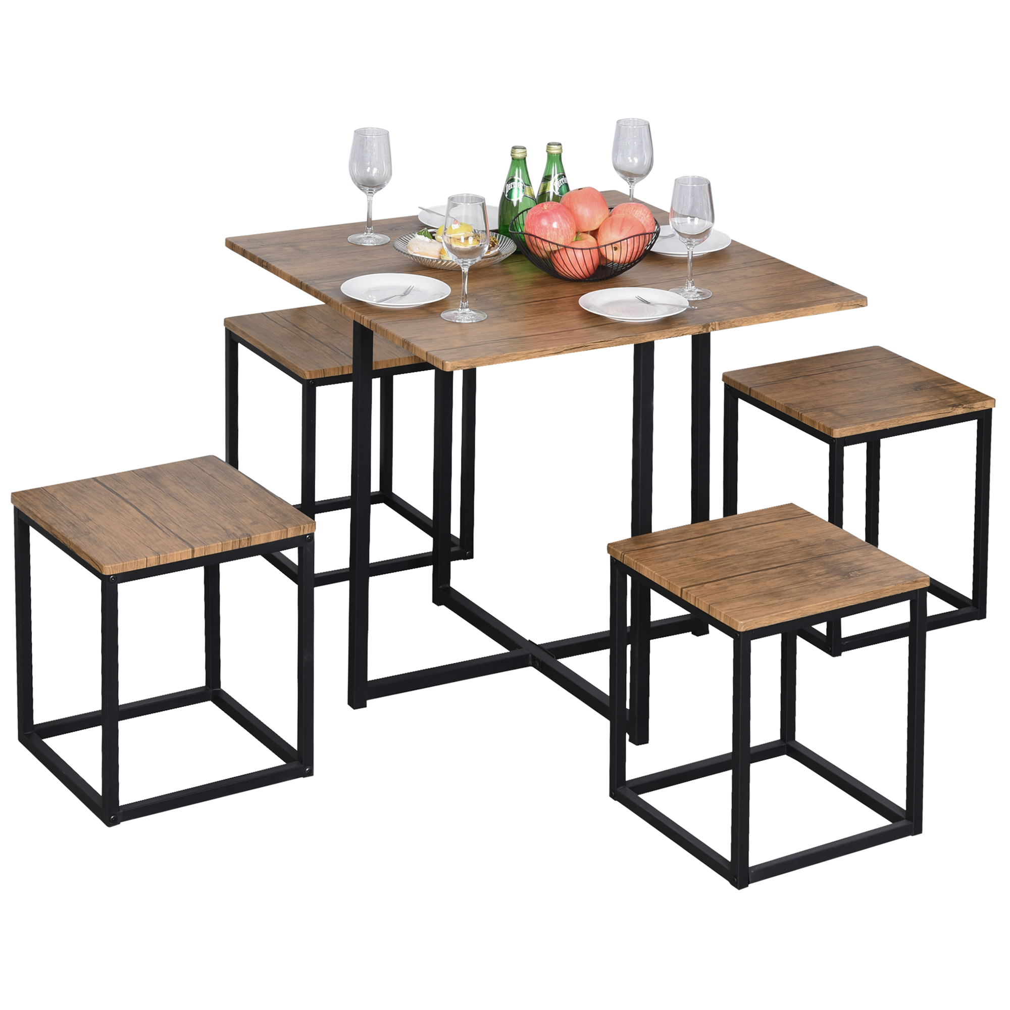 Homcom 5 Piece Dining Room Table Chair Set Square Board Steel Space Saving With Stools Walnut Wood Color 5pcs Dining Sets Aosom