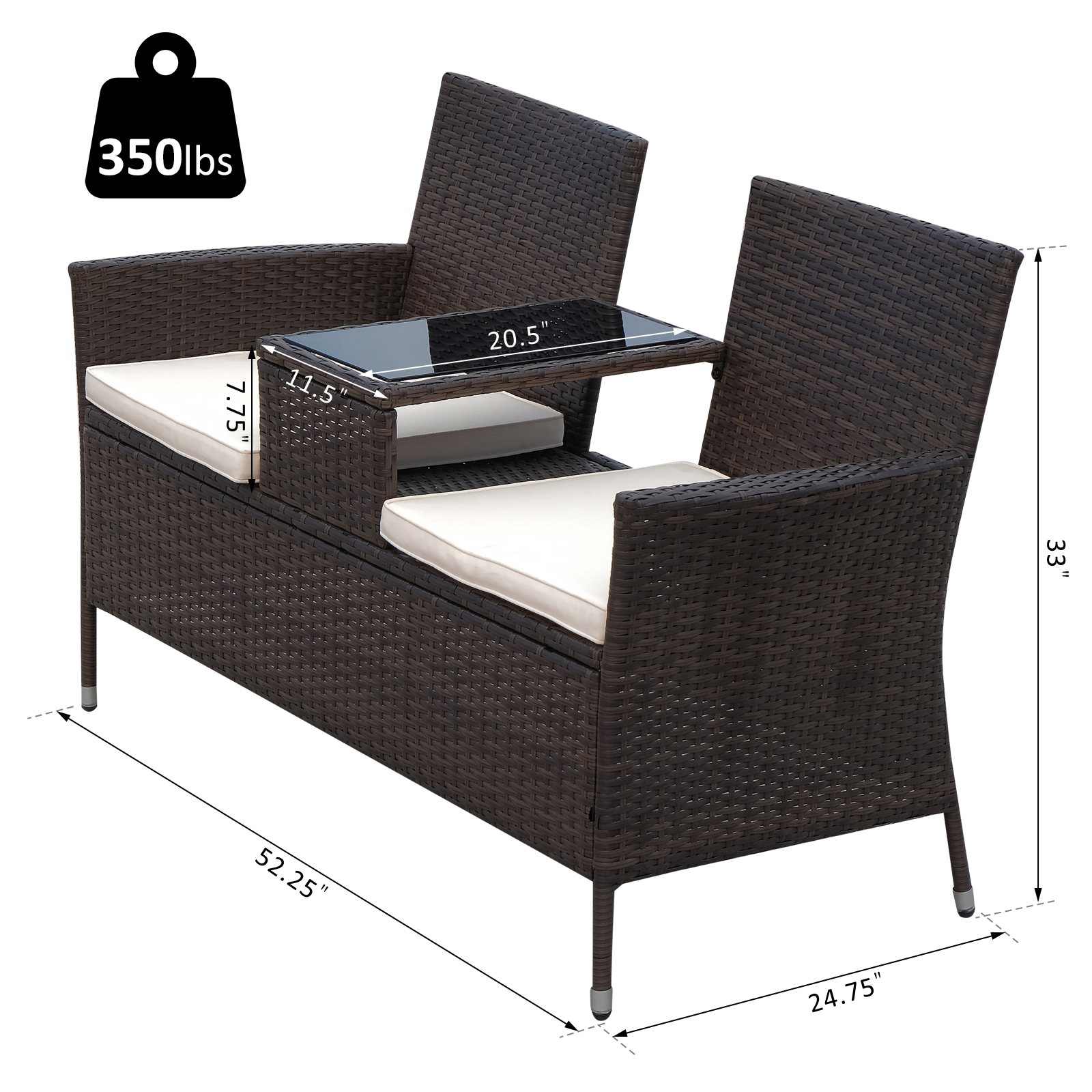Outsunny 2 Seat Rattan Wicker Chair Bench