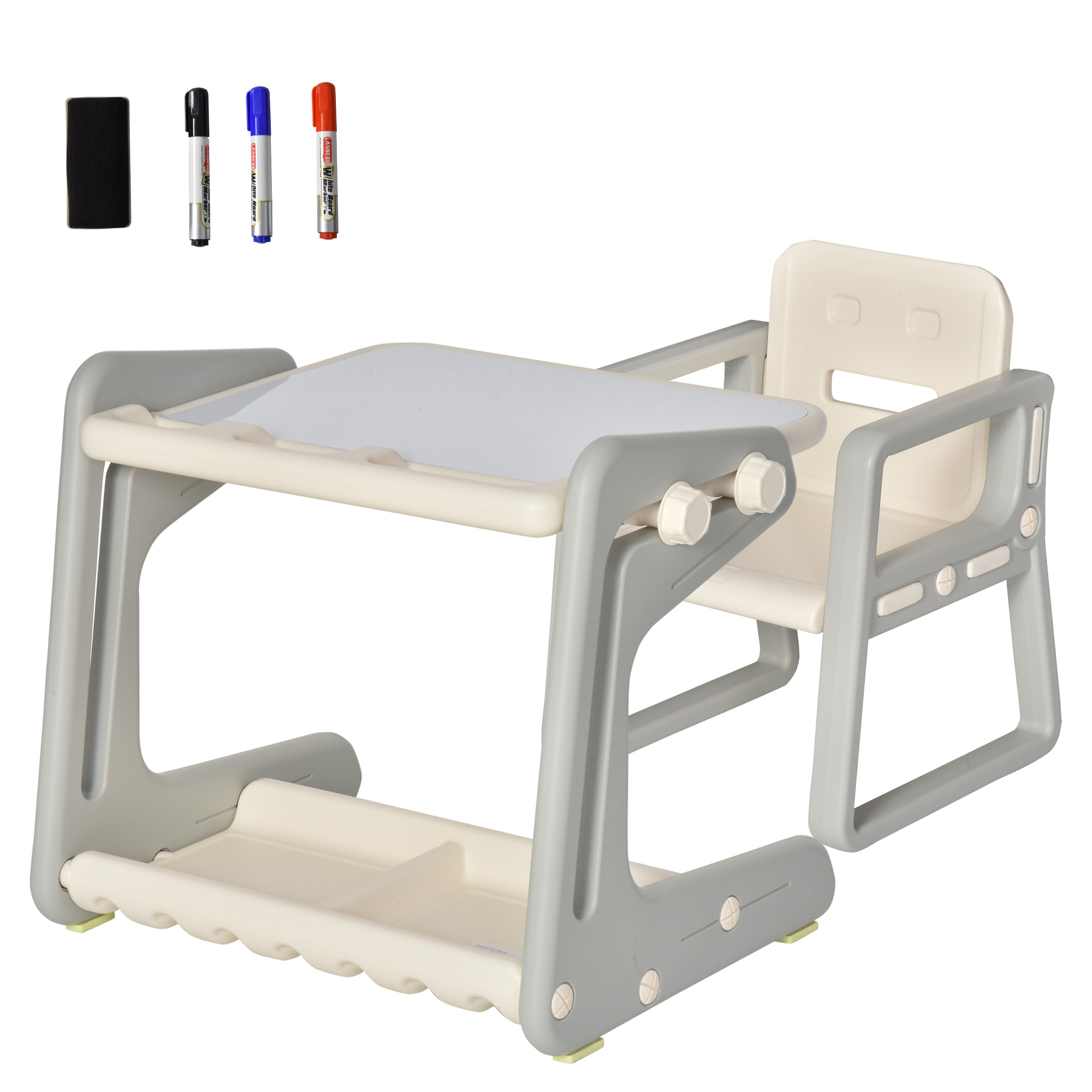 Storage Shelf Qaba 2-Piece Kids Multifunctional Drawing//Writing Table Set with Adjustable Tabletop Angle /& Marker Pack