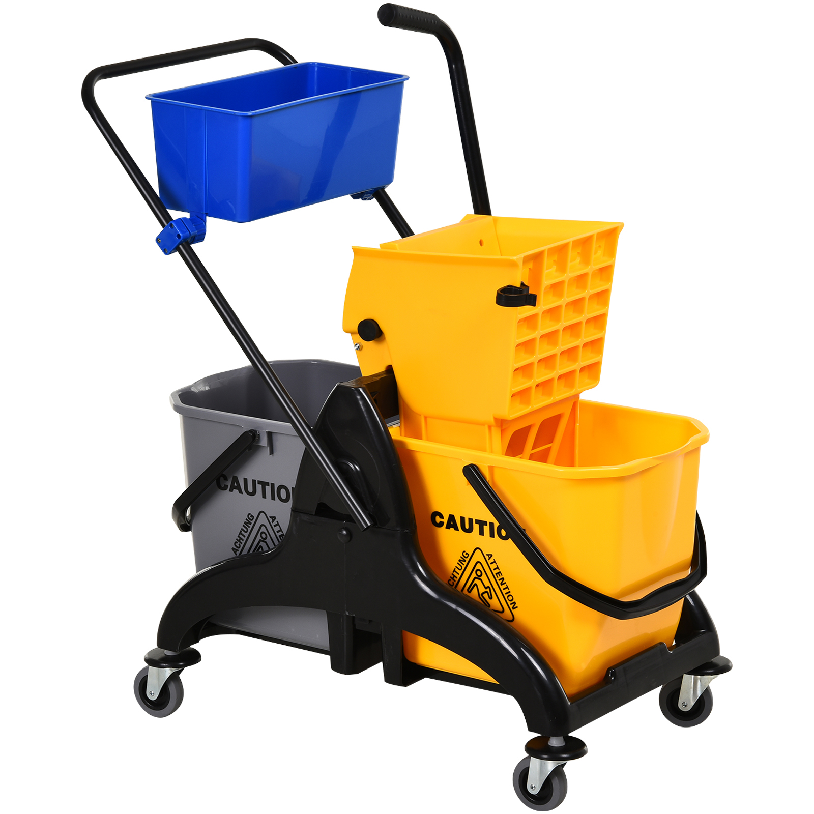 5.28 Gallon Mop Bucket with Wringer Combo Commercial Home Cleaning Cart with Removable Side Press Wringer Design Cleaning Cart with 4 Wheels