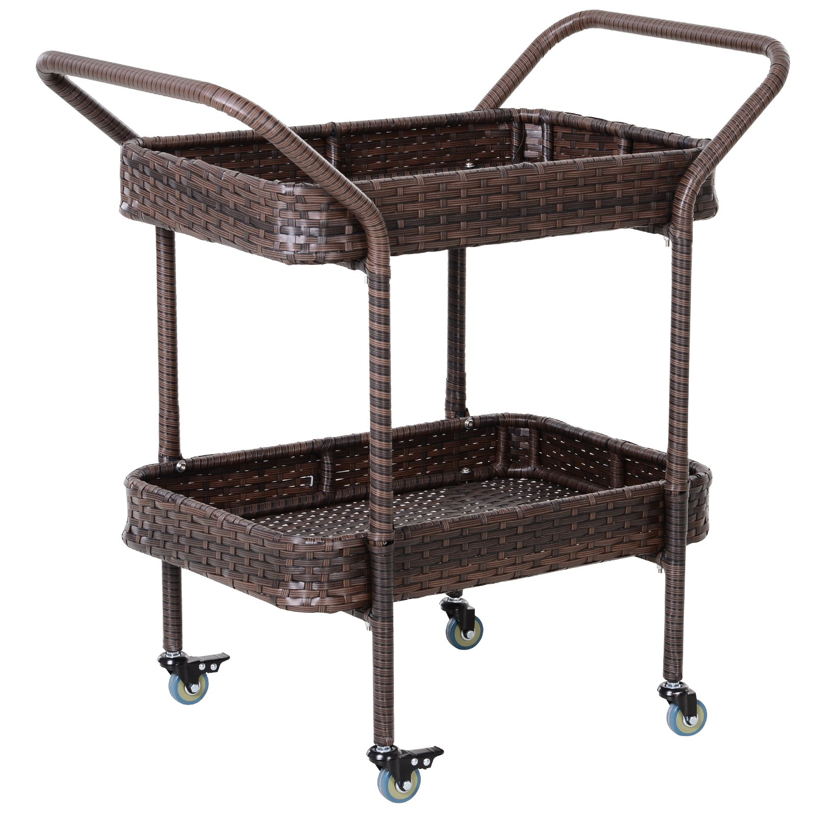 Outsunny Rolling Rattan Wicker Outdoor Kitchen Trolley Serving Cart 2 Tray Shelves Barbecues Aosom