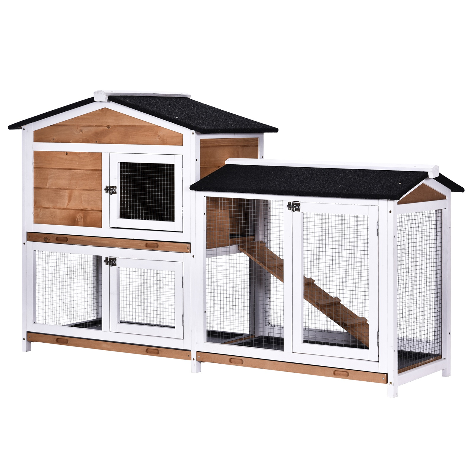 Pawhut Rabbit Hutch 2 Tier Wood Rabbit Hutch Backyard Cage Small Animal House With Ramp And Outdoor Run The Perfect Diy Project 62 L Small Animal Cages Aosom