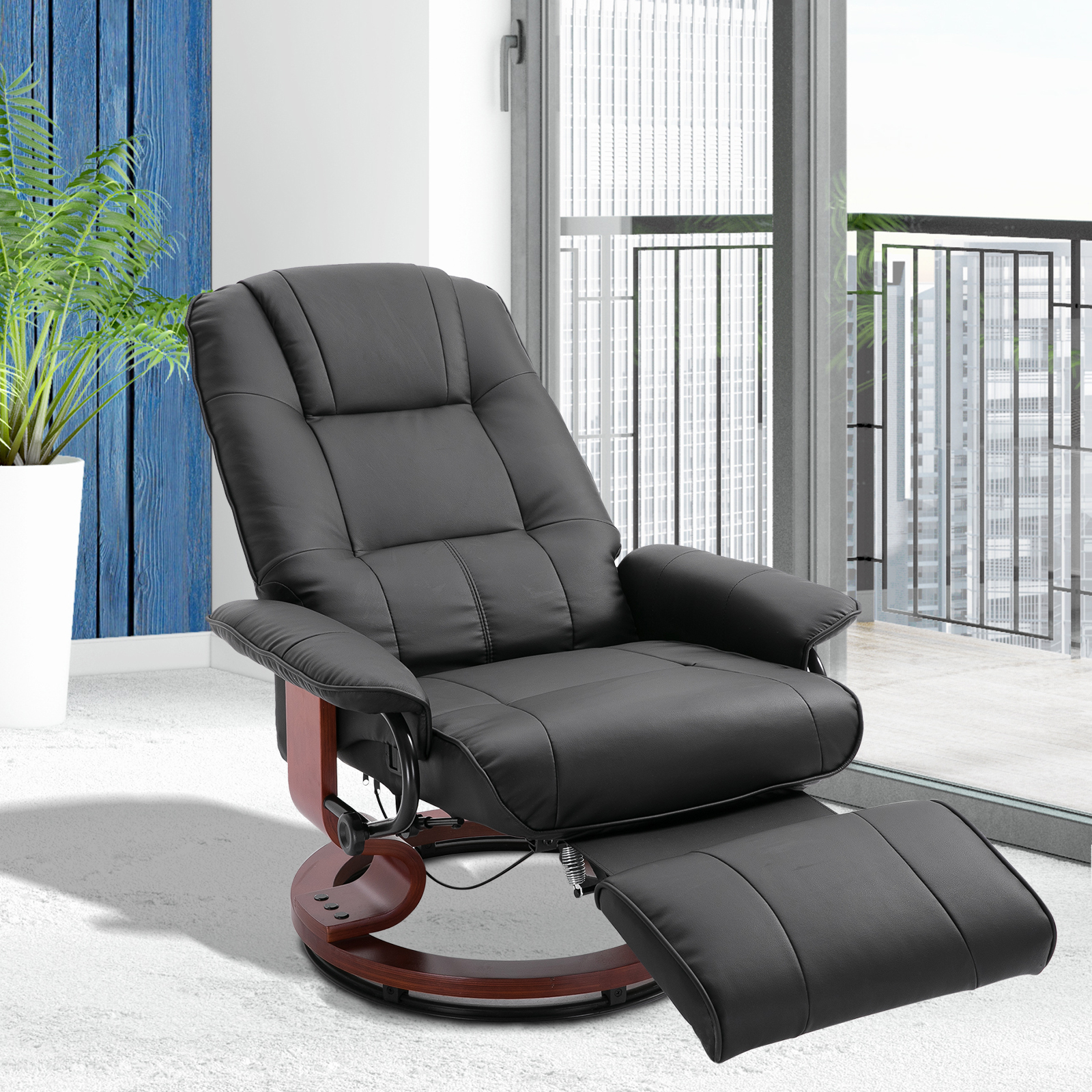 Picture of: Homcom Faux Leather Adjustable Manual Traditional Swivel Base Recliner Chair With Footrest Black Recliners Aosom