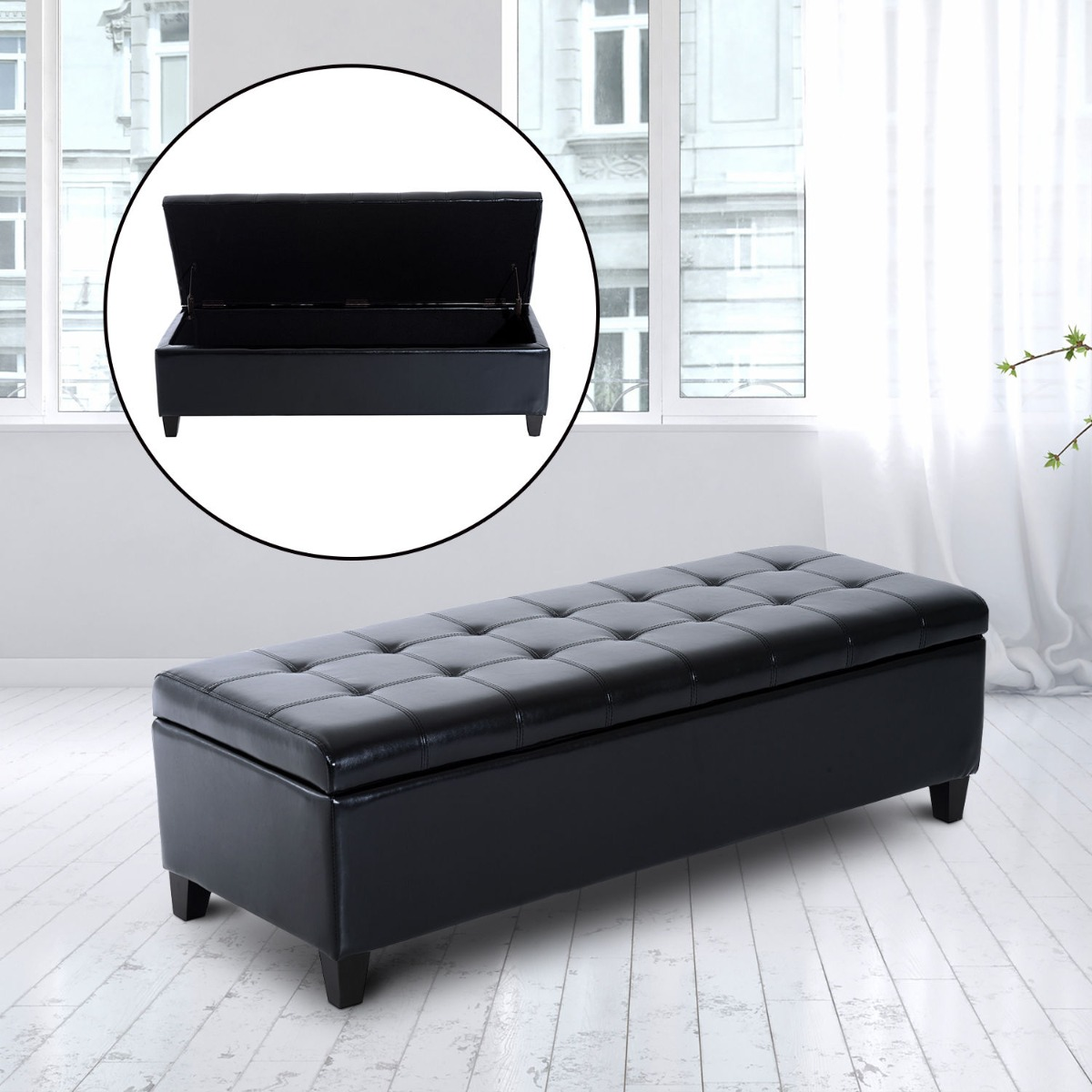 Homcom 51 Pu Leather Tufted Modern Storage Ottoman Bench Black Large 51 Faux Leather Storage Ottoman Ottomans Aosom