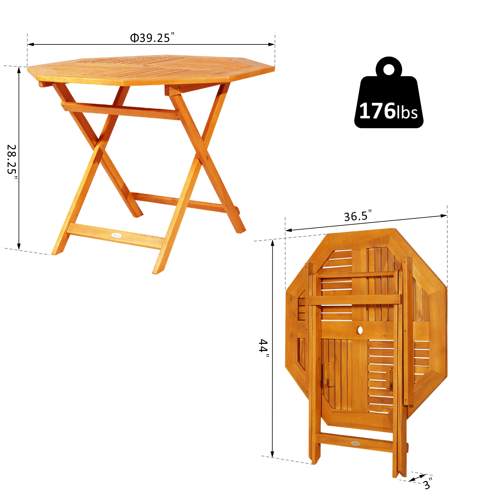 Outsunny 39 inch  Acacia Wood Octagon