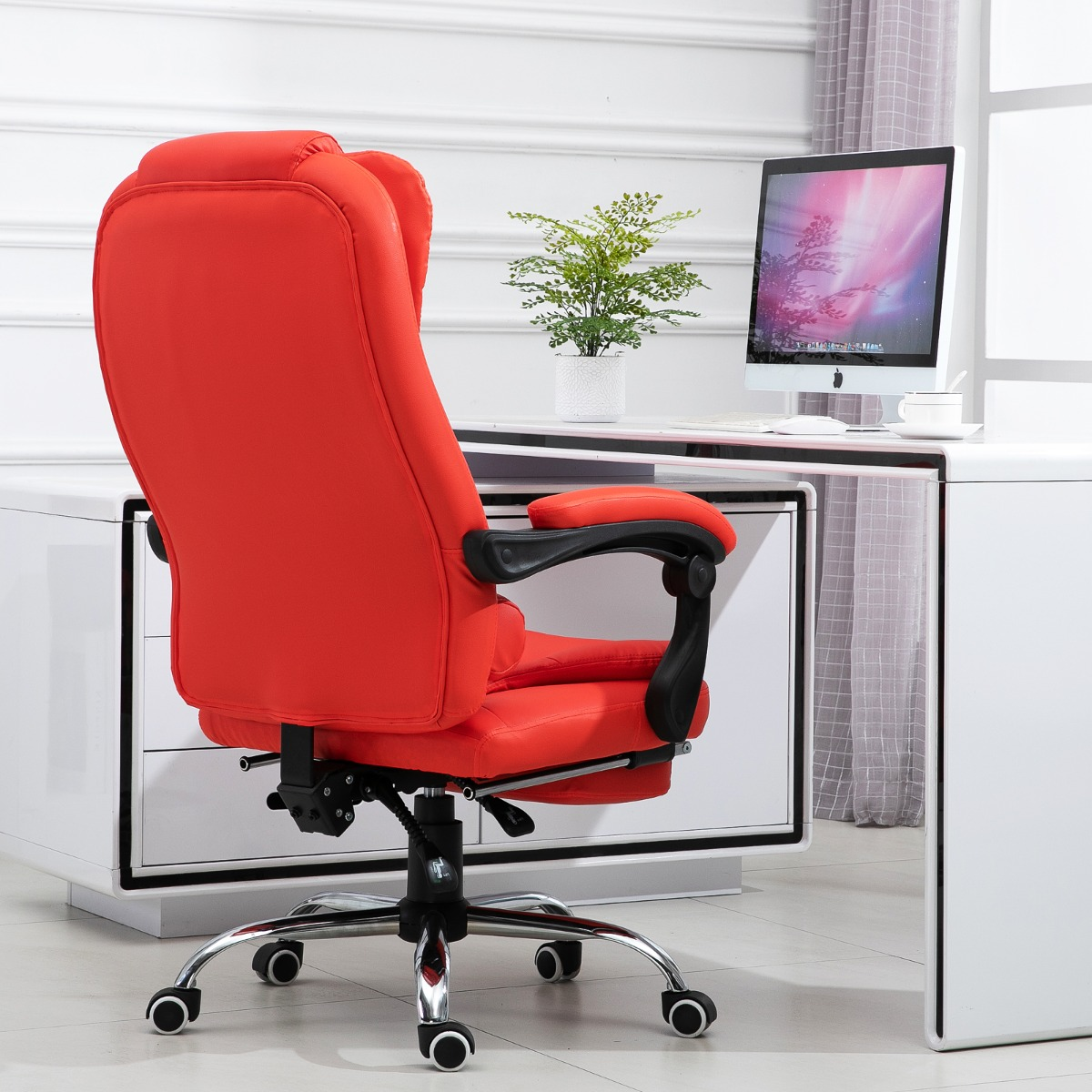 Homcom Reclining Office Chair With Footrest Pu Leather Executive Home Office Chair Red Executive Chairs Aosom