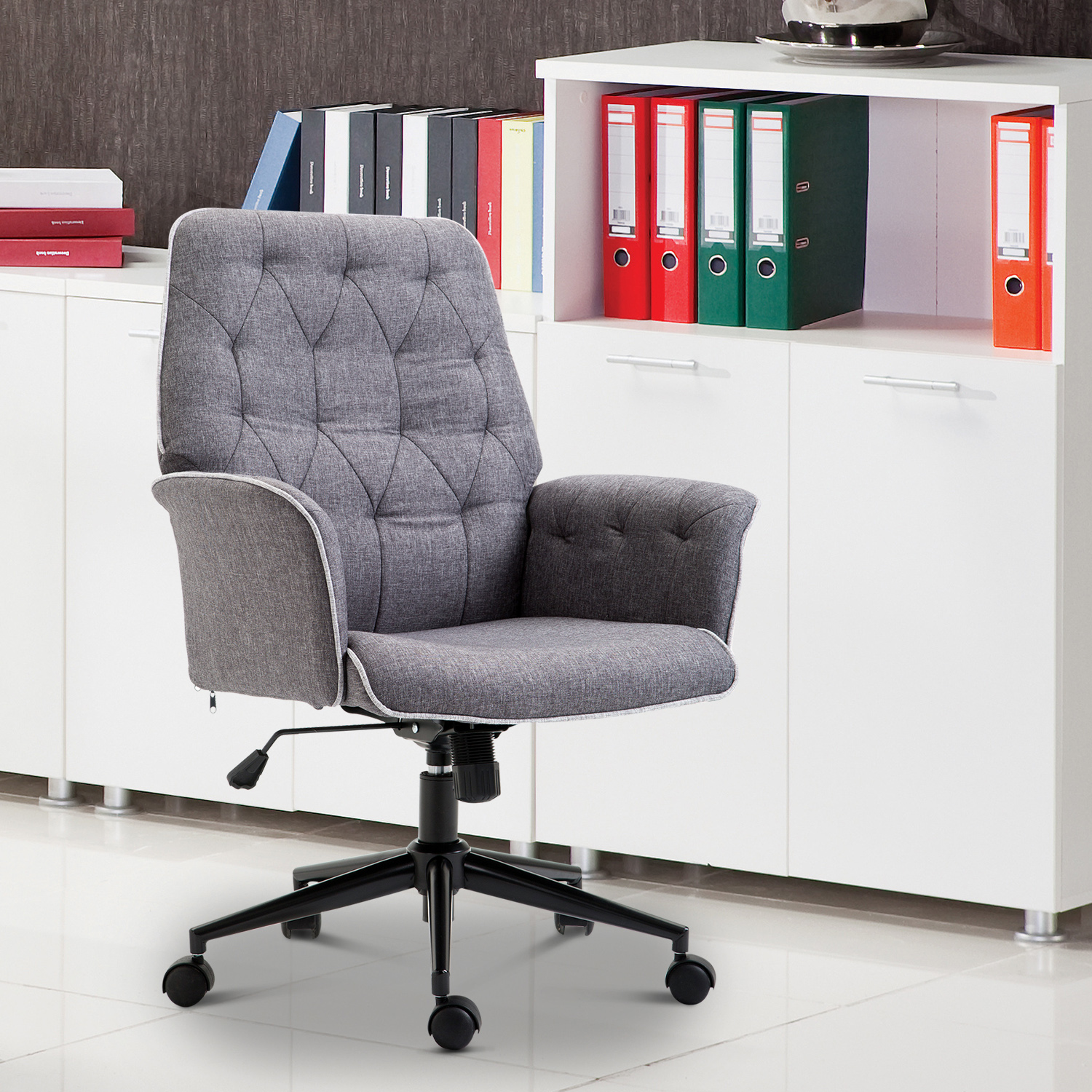 Homcom Modern Tufted Home Office Chair Executive Seat Upholstered Swivel Ergonomic Office Chair Desk Chairs Aosom