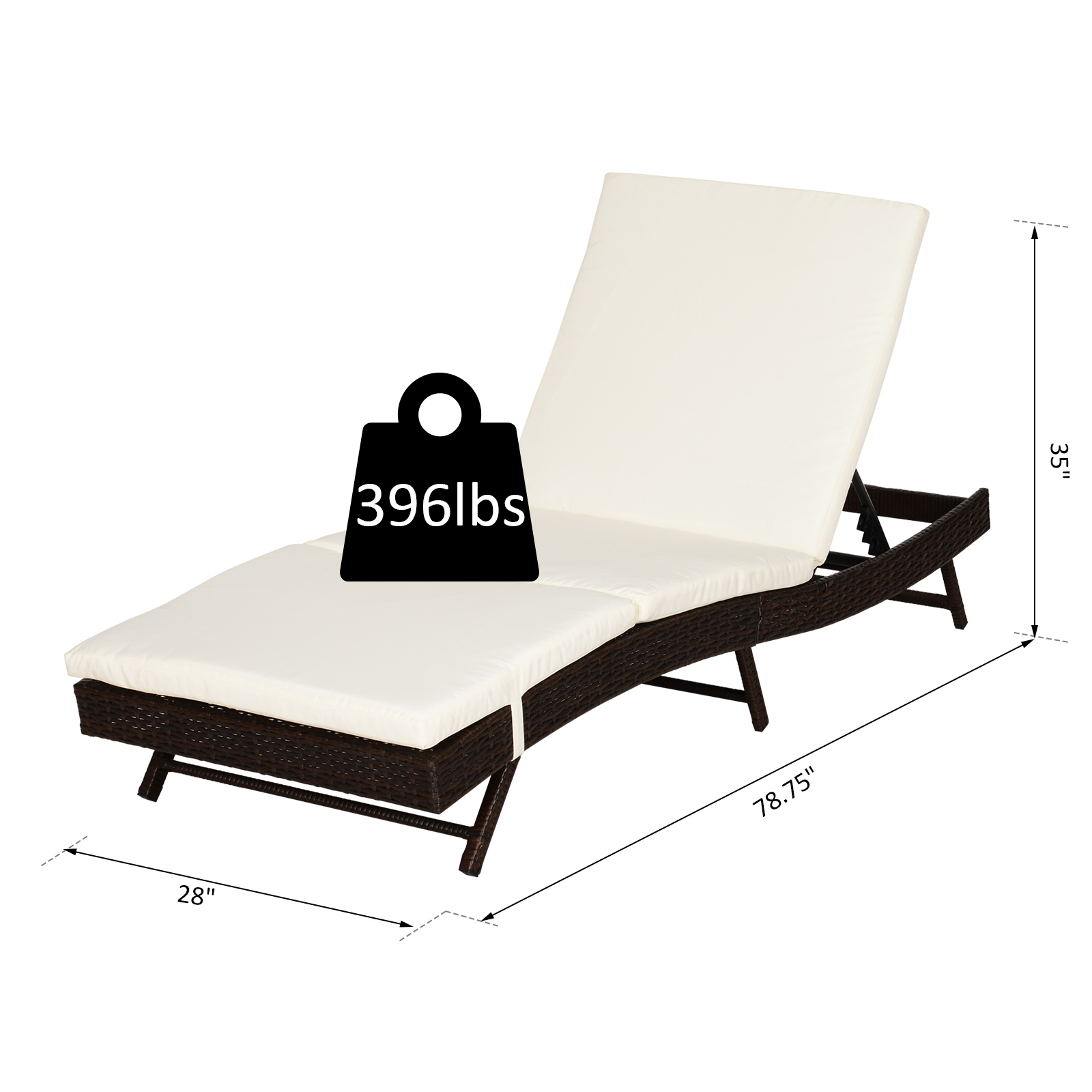 Outsunny 6 Position Adjustable Outdoor PE Rattan