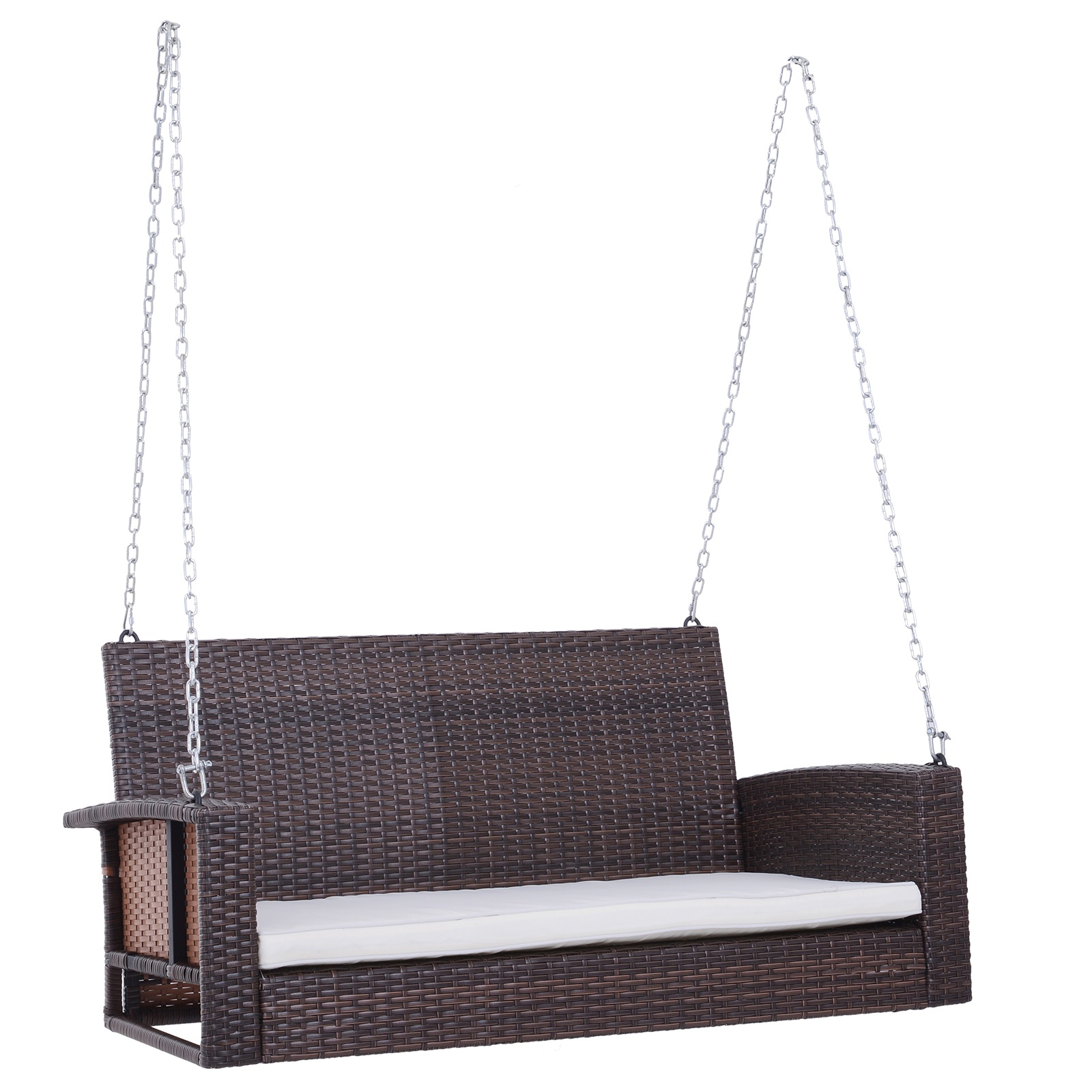 Outsunny 2 Person Outdoor Wicker Hanging Porch Swing Bench With Super Comfortable Lounging Cushions Curved Seat Brown Hammocks Swings Aosom