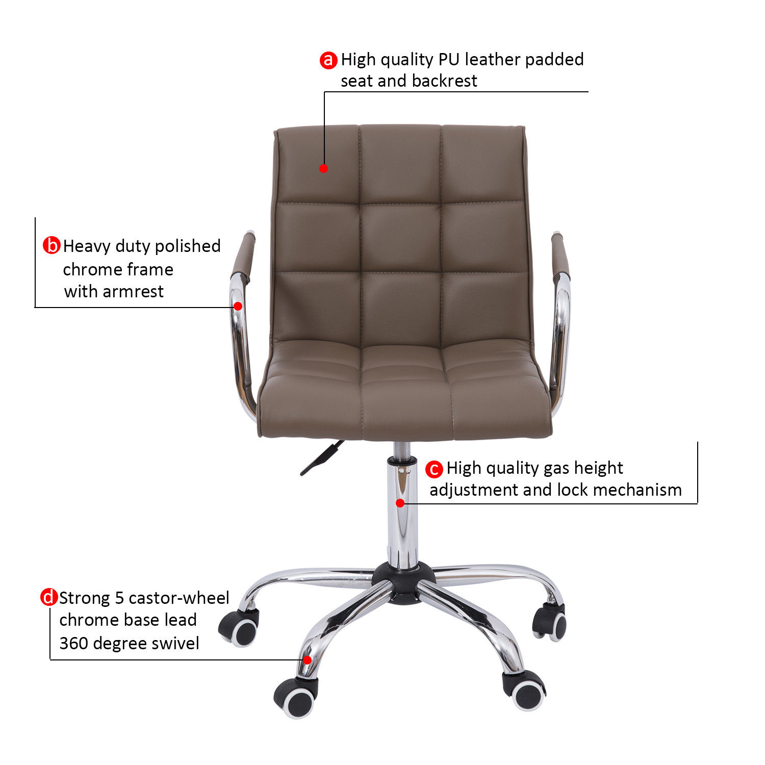 Homcom New Pu Leather Mid Back Executive Office Arm Task Chair Swivel Brown Desk Chairs Aosom