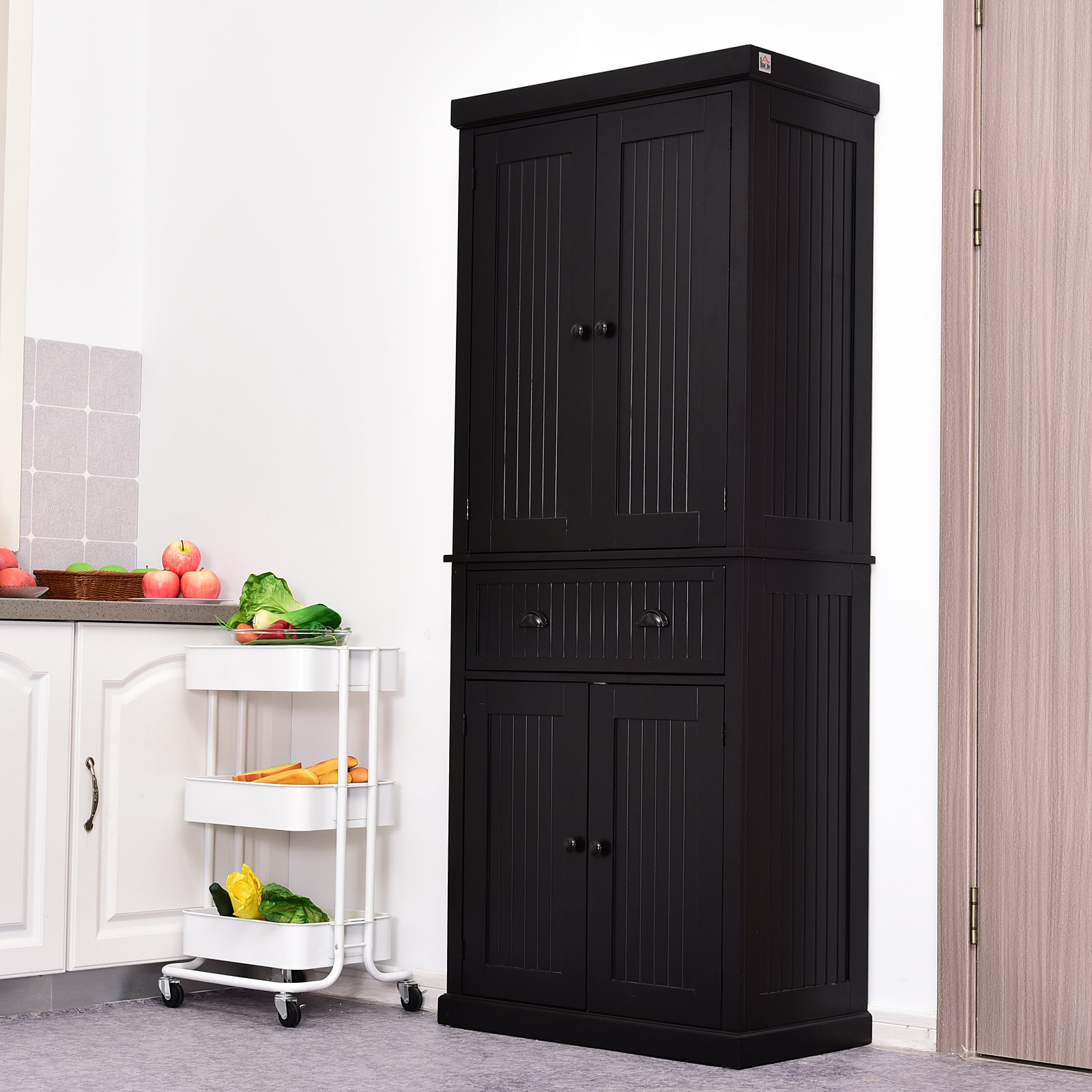 Homcom Tall 72 Traditional Colonial Style Standing Kitchen Pantry Cupboard Cabinet Black Pantry Buffet Aosom