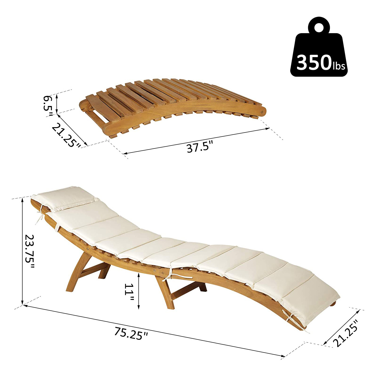 Outsunny Acacia Wood Folding Outdoor Chaise Lounge
