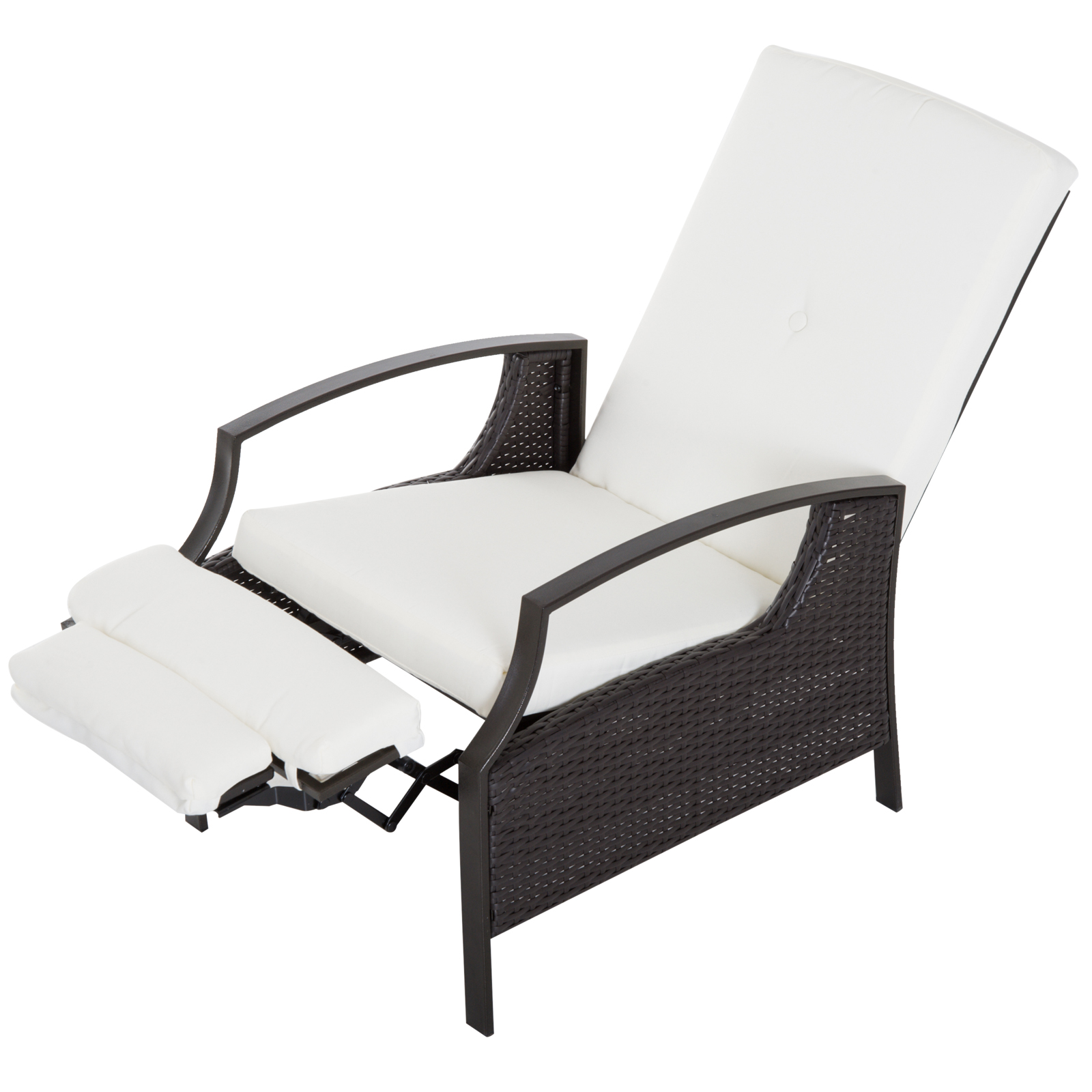 Picture of: Outsunny Adjustable Patio Wicker Recliner Chair Indoor Outdoor Garden Relaxing Lounge Chair Pool Chaise With Cushion Dark Brown Cream White Rattan Furniture Aosom